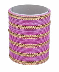 Deep Pink And Golden Bangles Set-Medium