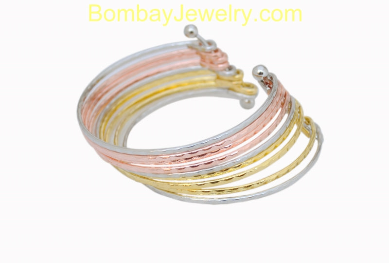 Tricolor Fashion Cuff Bangle-Adjustable
