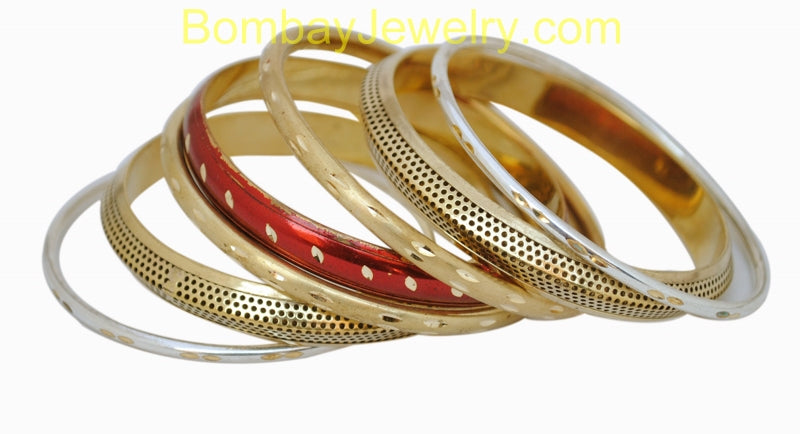Golden And Red Fashion Bangles-Medium