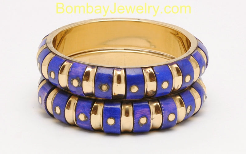 Golden And Deep Blue Fashion Cuff Bangle-Large