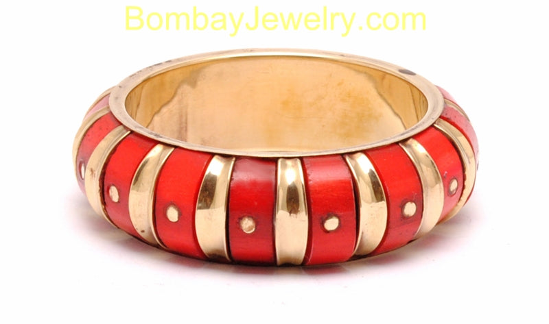 Golden And Red Big Fashion Cuff Bangle-Large