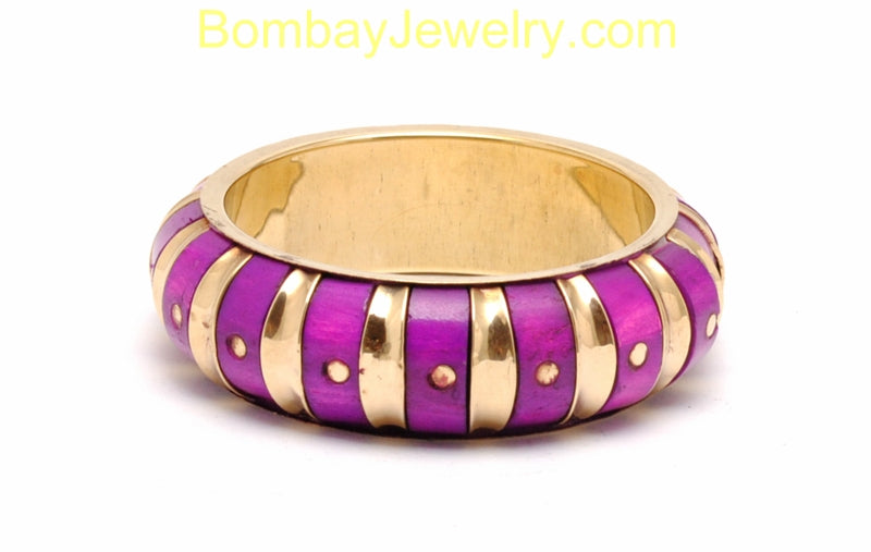 Golden And Fusicha Pink Fashion Cuff Bangle-Small