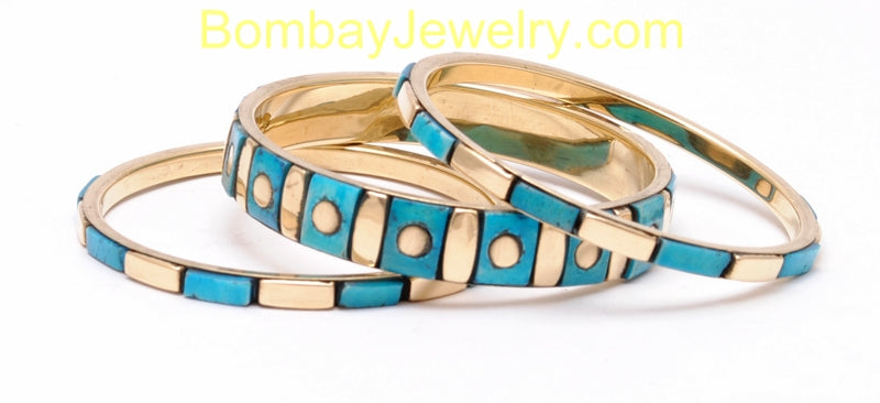 Aqua Blue Wooden And Metal Fashion Bangle Set Of 3-Medium