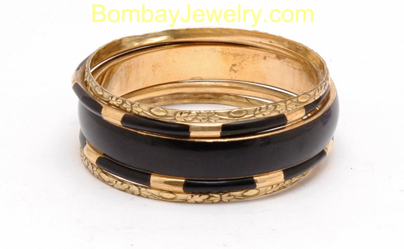 Oxidised Golden And Black Fashion Bangle Set Of 5-Medium