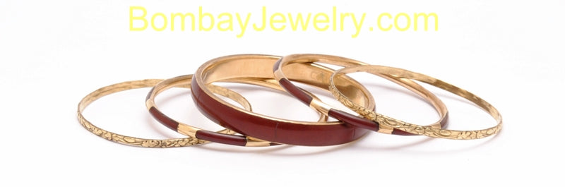Oxidised Golden And Marroon Fashion Bangle Set Of 5-Medium