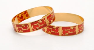 Goldplated Bangle Set Of 2 With Red Touch-Large