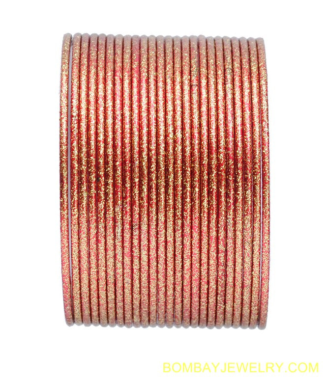 set of 18 red plan metal bangles-xl