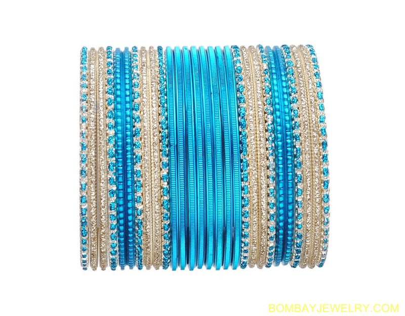 beautiful aqua blue and golden bangles set-m