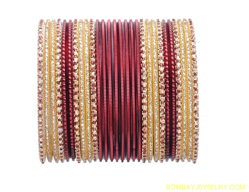 marron and golden metal bangles-l
