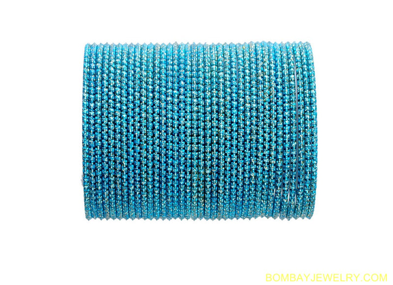SET OF 36 AQUA BLUE METAL BANGLES-L