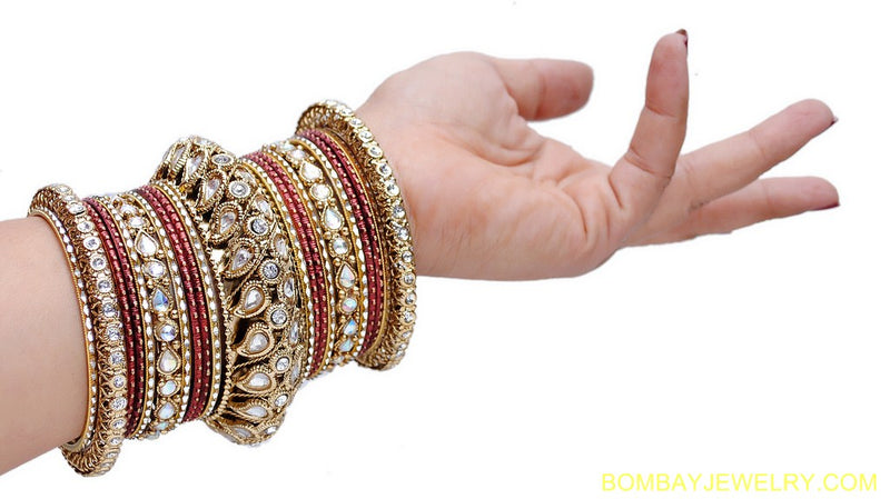 goldplated marron kundan bangles set-L
