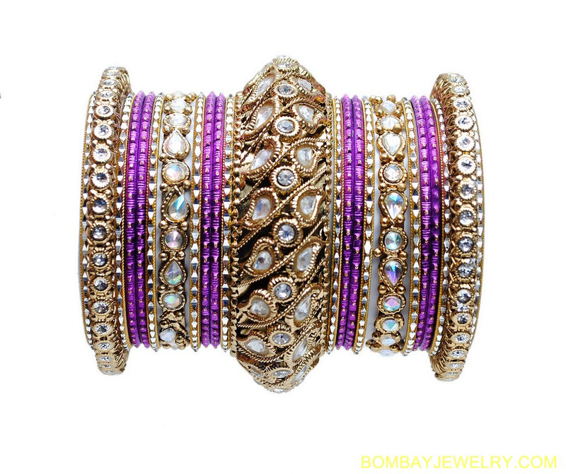 GOLDPLATED PURPLE KUNDAN BANGLES-L
