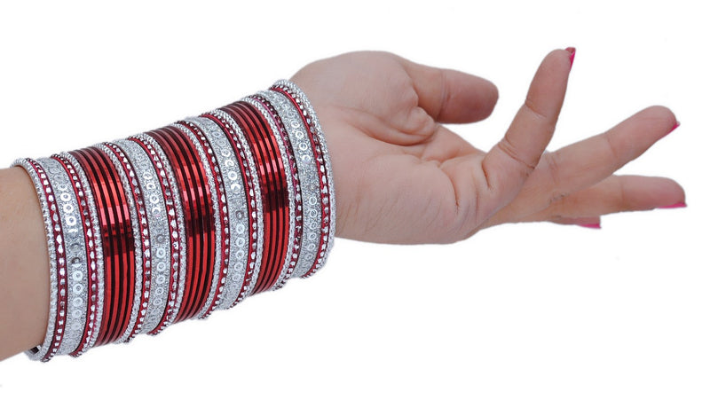 Silver and marron bangle set-1869
