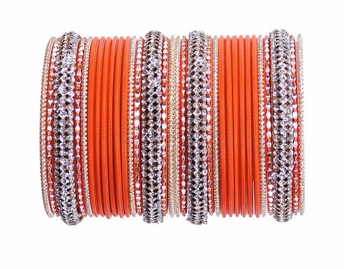 Beautiful orange and golden bangle set-2186