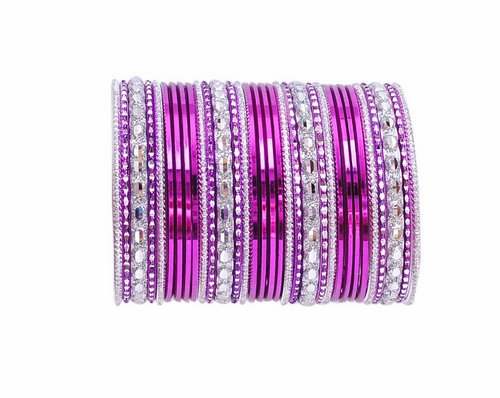 Silver and purple bangle set-2216