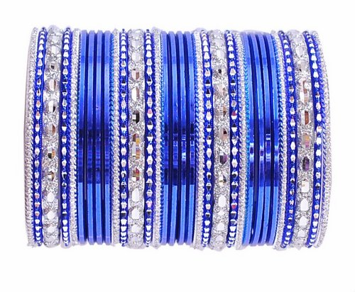Blue and Silver bangle set-2218