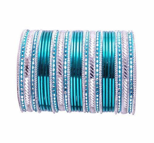 turquoise green and silver bangle set-2254