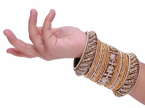 Goldpolish golden bangle set-2259
