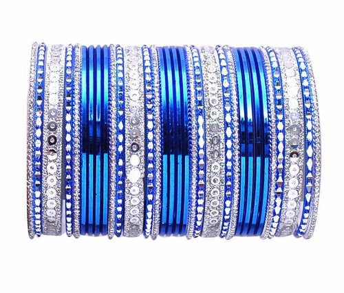 Silver and blue bangle set-2287