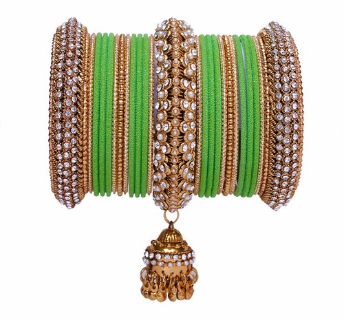 Goldpolish green bangle set-2294