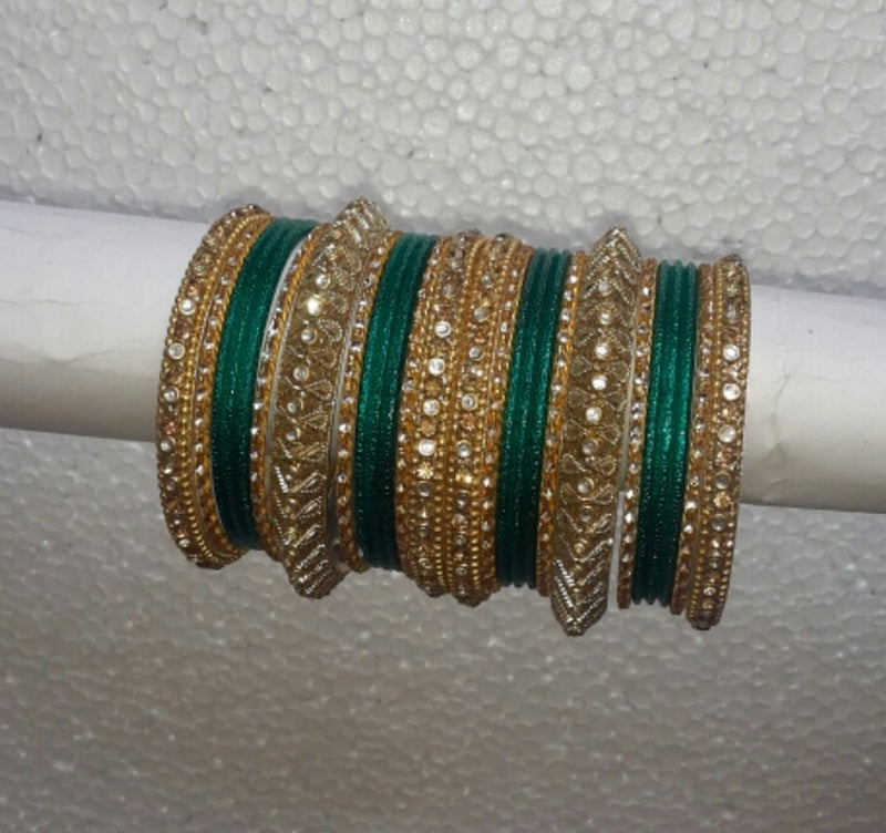 Goldpolish light green bangle set