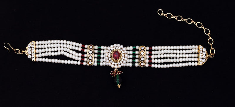 Beautiful marron, green and white pearl armlet