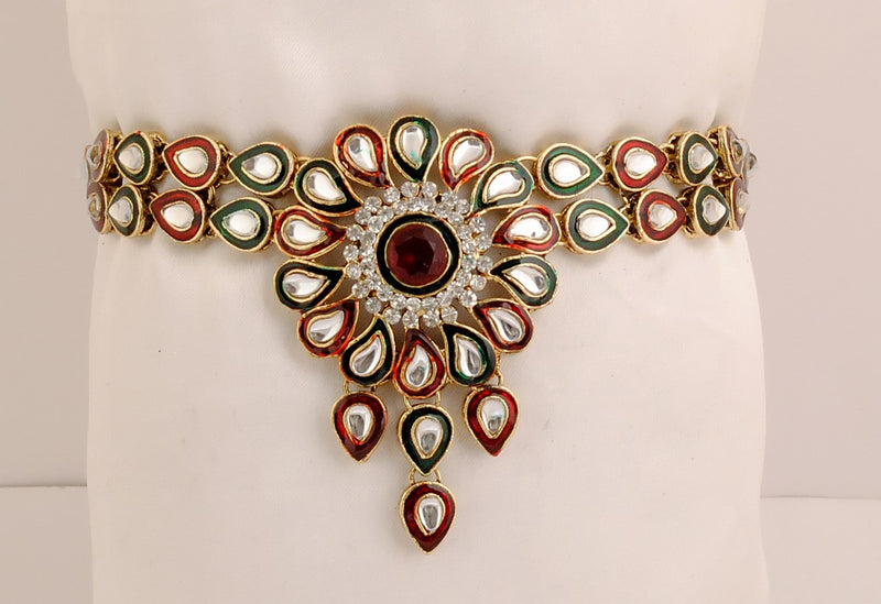 goldpolish maroon, green and white kundan armlet-1259