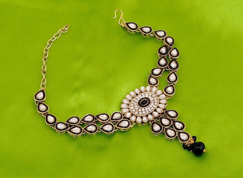 Goldpolish black and white kundan armlet-1263