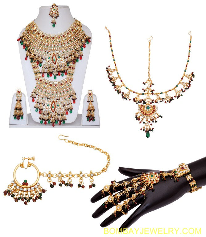 GOLDPLATED MAROON, GREEN AND WHITE BRIDAL SET