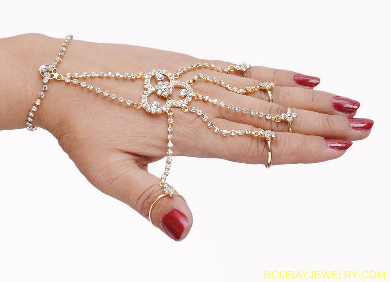 goldplated white diamond hand ring bracelets