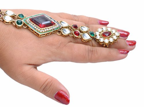 Goldpolish maroon, green and white kundan hand ring bracelet-1439