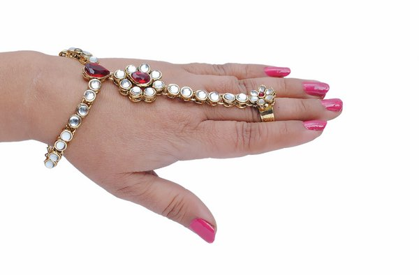 Goldpolish maroon and white hand ring bracelet-1452