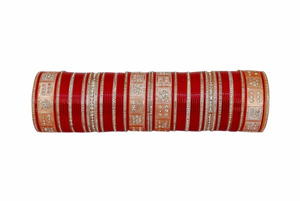Deep red bridal chura-1463