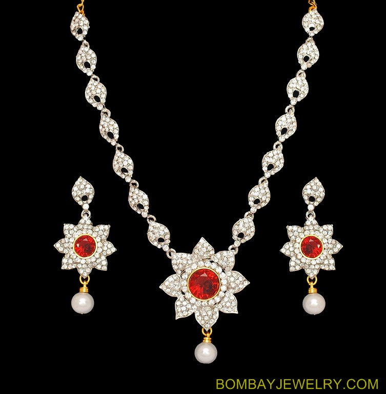 goldplated deep red and white diamond set