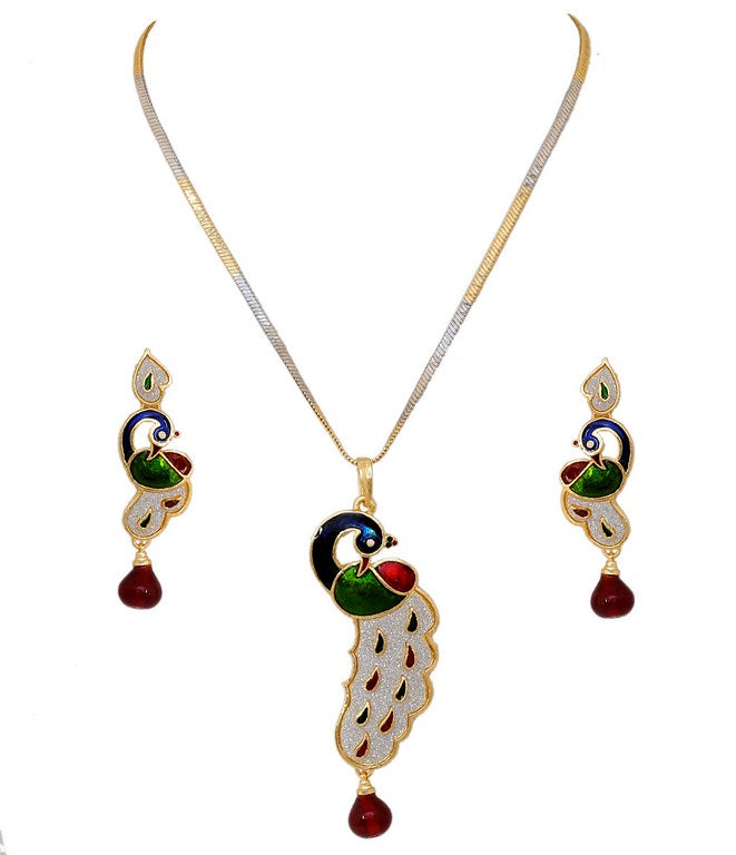 Beautiful maroon, green , blue peacock pendent set