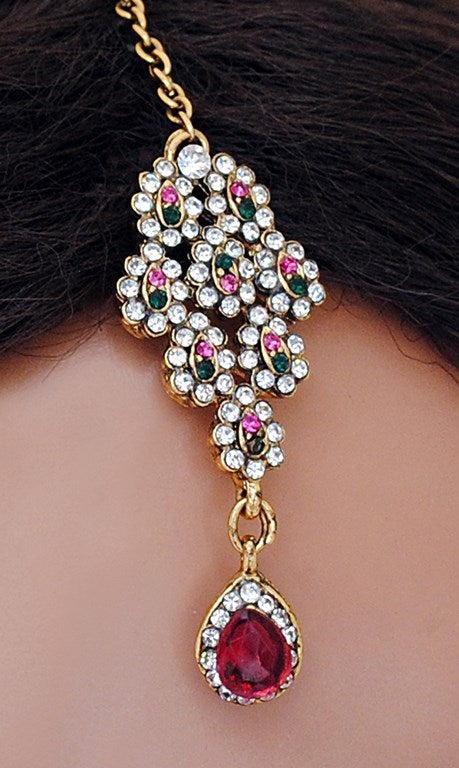 Beautiful golden, fusicha pink, green and white diamond set