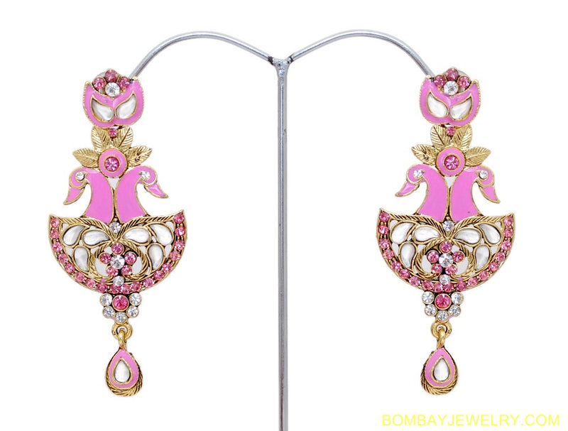 goldplated pink and white peacock earring