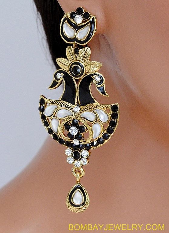 goldplated black and white peacock earring