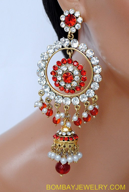 GOLDPLATED RED AND WHITE DIAMOND JHUMI EARRING