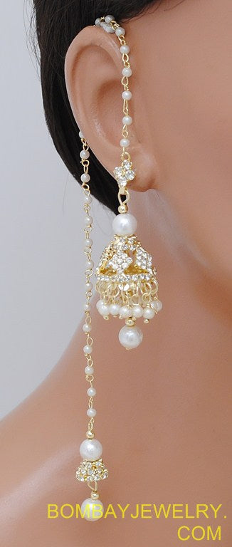 goldplated white diamond kashmiri earring
