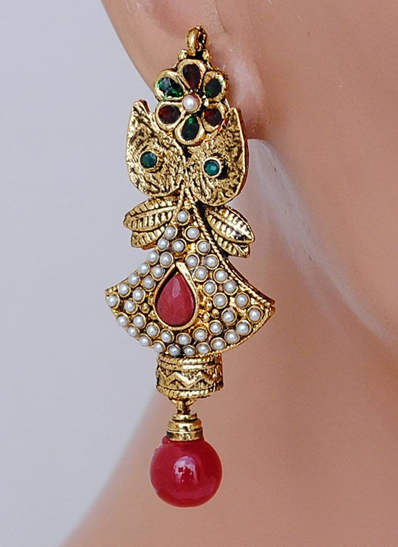 Beautiful ruby red, green and white polki earring