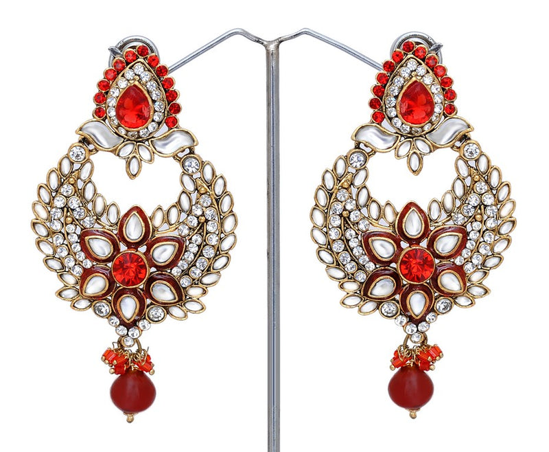 Beautiful red and white kundan earring