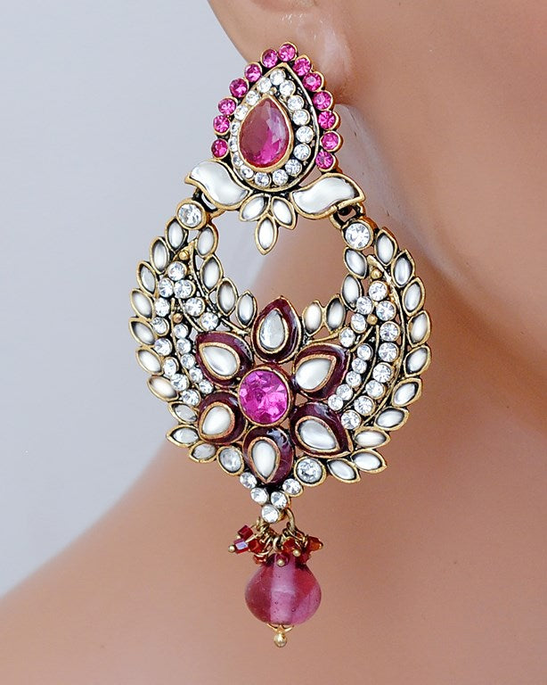 Beautiful  Fusicha pink and white kundan earring