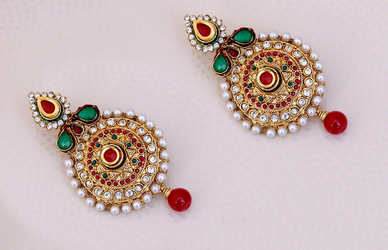 Gold polish maroon, green and white pearl and polki earring-18