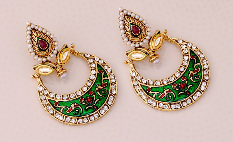 Goldplated maroon, green and white earring-99