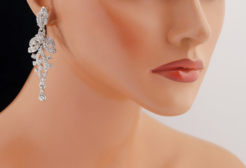 Silverpolish white diamond earring-102
