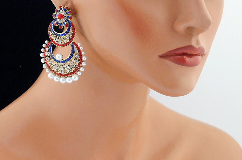 Gold polish red, blue and white diamond and pearl earring-54