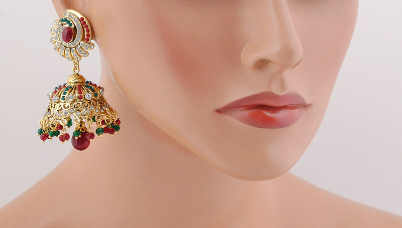 Goldpolish maroon, green jhumi earring-3344