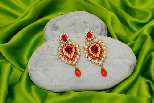 Goldpolish red and white earring-2380