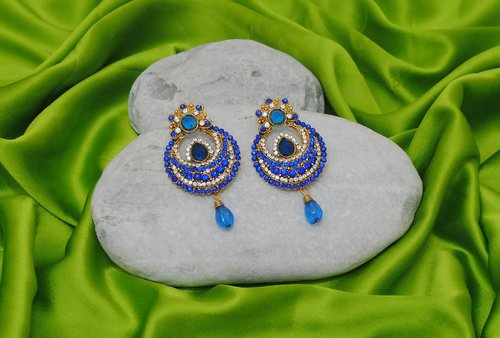 Goldpolish blue and white earring-2383